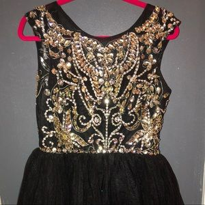 Beaded black tulle homecoming dress